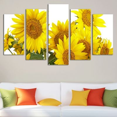 0204 Wall art decoration (set of 5 pieces) Sunflowers