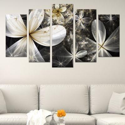 0629 Wall art decoration (set of 5 pieces) Abstract flowers