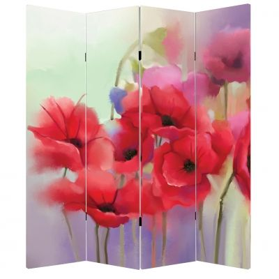 P0240 Decorative Screen Room divider Poppies (3,4,5 or 6 panels)