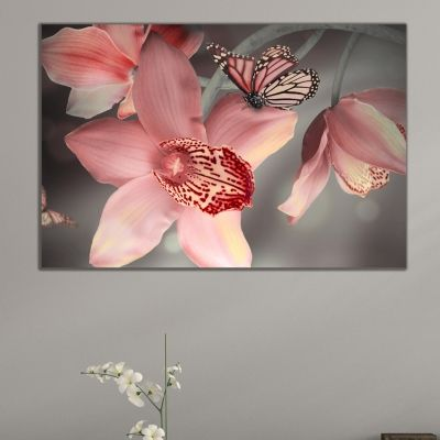 0612_1 Wall art decoration Orchids and butterflies