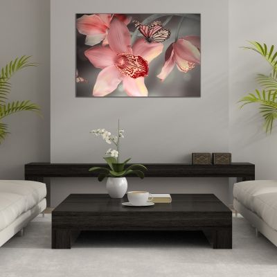 Canvas wall art  with orchids and butterflies in pink and grey