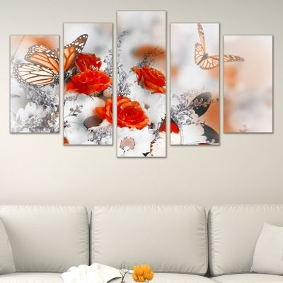 0630 Wall art decoration (set of 5 pieces) Roses and butterflies
