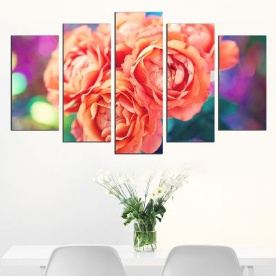 0571 Wall art decoration (set of 5 pieces) Roses on colorful background