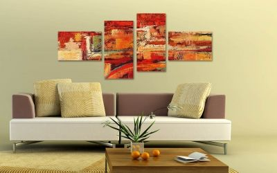 0074 Wall art decoration (set of 4 pieces) Passions in orange
