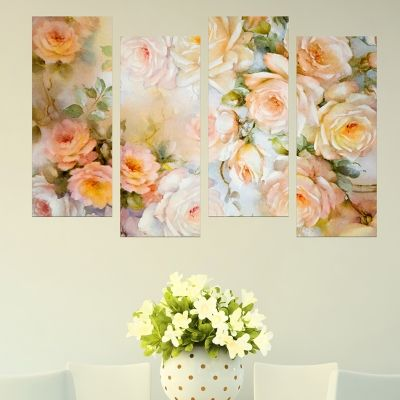 0633  Wall art decoration (set of 4 pieces) Vintage roses