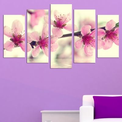 0636 Wall art decoration (set of 5 pieces) Branch with pink blossoms