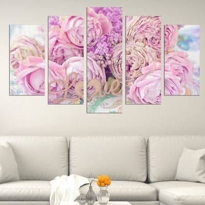 0640 Wall art decoration (set of 5 pieces) Bouquet of beautiful flowers