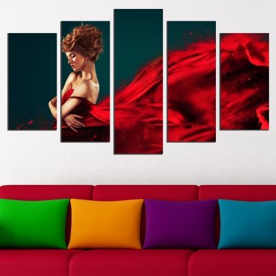 0562 Wall art decoration (set of 5 pieces) Red dress