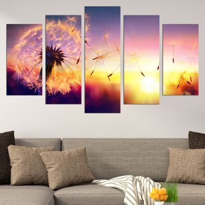 0642 Wall art decoration (set of 5 pieces) Dandelions