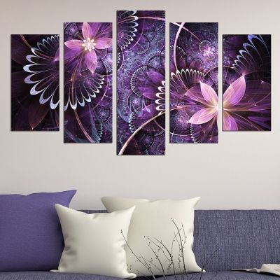 0645 Wall art decoration (set of 5 pieces) Purple abstract flowers