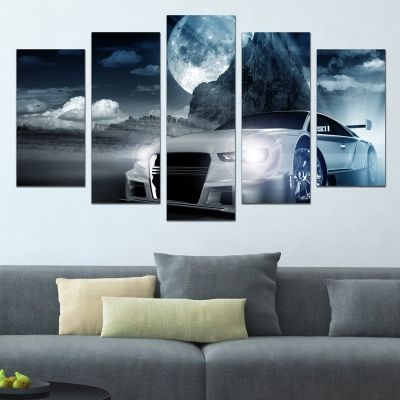 0646 Wall art decoration (set of 5 pieces) Night race