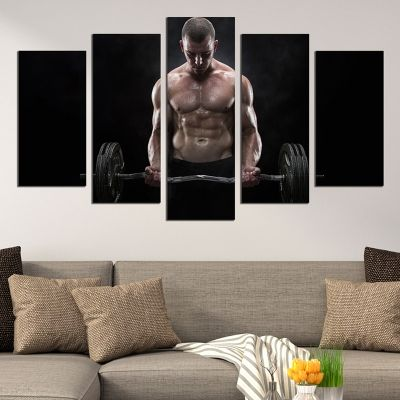 0655 Wall art decoration (set of 5 pieces) Fitness man