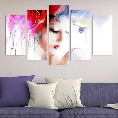 0656 Wall art decoration (set of 5 pieces) Beautiful tender  girl