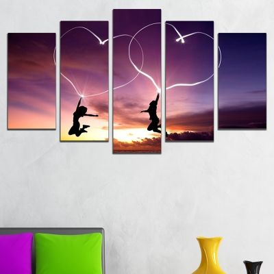 0659  Wall art decoration (set of 5 pieces) Love is in the air