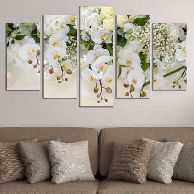 0663  Wall art decoration (set of 5 pieces) White orchids