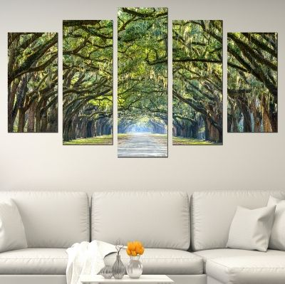 0666 Wall art decoration (set of 5 pieces) Forest landscape in green