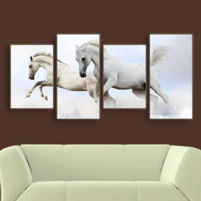 0054 Wall art decoration (set of 4 pieces) Horses