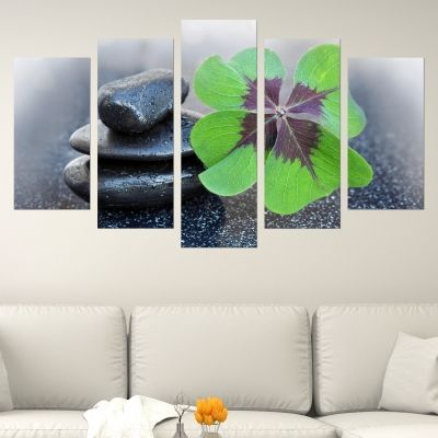 0673 Wall art decoration (set of 5 pieces) Four leaf clover