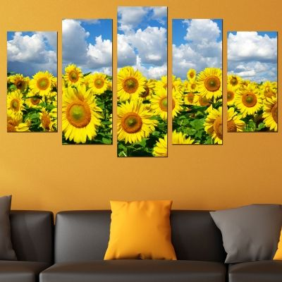0676 Wall art decoration (set of 5 pieces) Sunflowers field