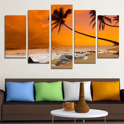 00679 Wall art decoration (set of 5 pieces)  Sea sunset with palms