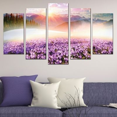 0680 Wall art decoration (set of 5 pieces) Colorful mountain landscape