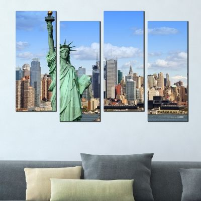 0092 Wall art decoration (set of 4 pieces)  Statue of Liberty