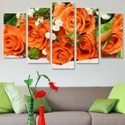 0094 Wall art decoration (set of 5 pieces) Orange roses