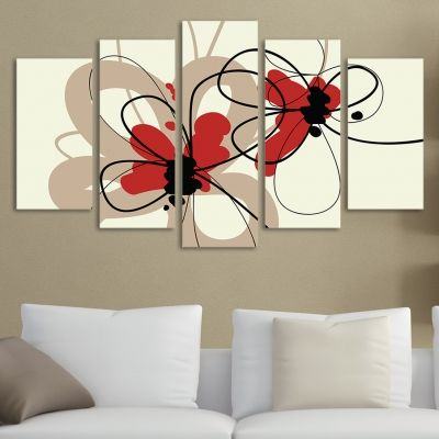 0096 Wall art decoration (set of 5 pieces) Stylish flowers