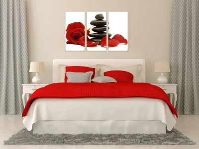 Zen wall art set with red rose and stones
