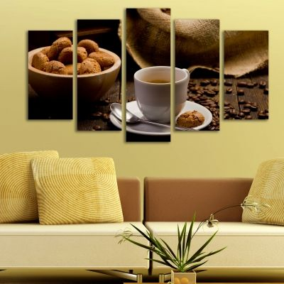 0108 Wall art decoration (set of 5 pieces) Coffee