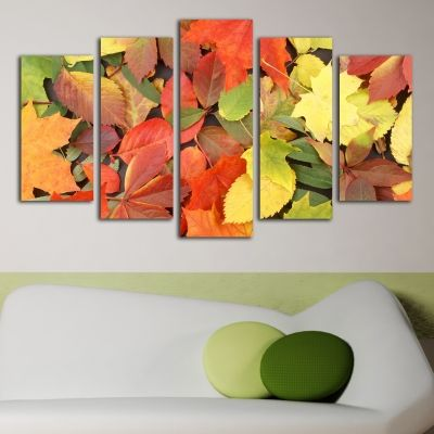 0114 Wall art decoration (set of 5 pieces) Autumn leaves