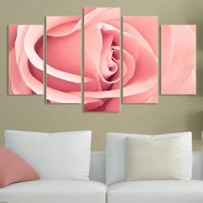 0071 Wall art decoration (set of 5 pieces) Pink rose