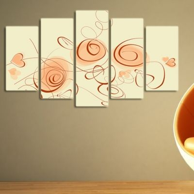 0098 Wall art decoration (set of 5 pieces) Spirals