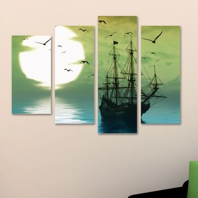 Canvas wall art with boat