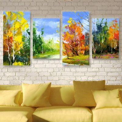 0012 Wall art decoration (set of 4 pieces) Colorful forest