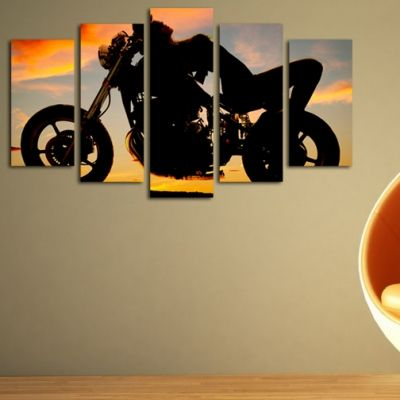 0125  Wall art decoration (set of 5 pieces) Sunset and motorcycle