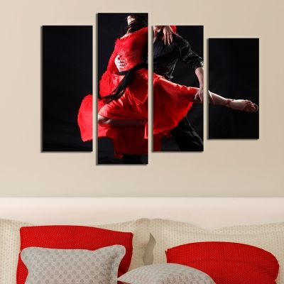 0126 Wall art decoration (set of 4 pieces) Passionate dance