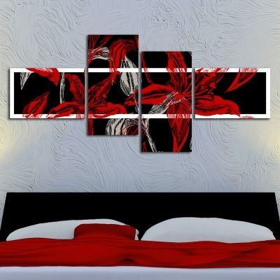 0133_2 Floral Floral Wall art decoration (set of 4 pieces)  in black and red