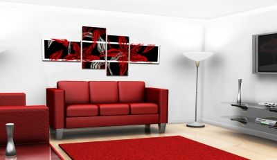 Floral wall decoration in black and red