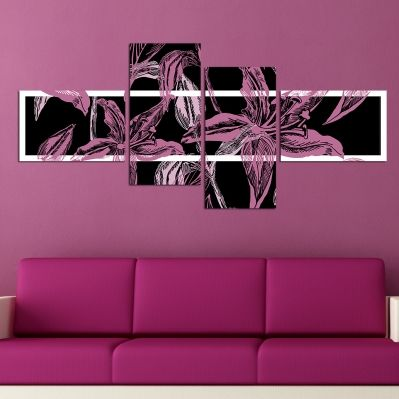 0133_3 Floral Wall art decoration (set of 4 pieces) in black and purple