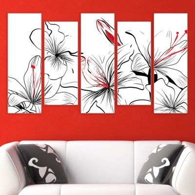 0133_2 Wall art decoration (set of 5 pieces) in black, white and red