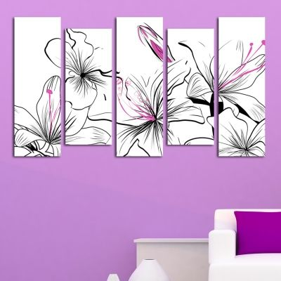 0134_3 Wall art decoration (set of 5 pieces) in white, black and purple