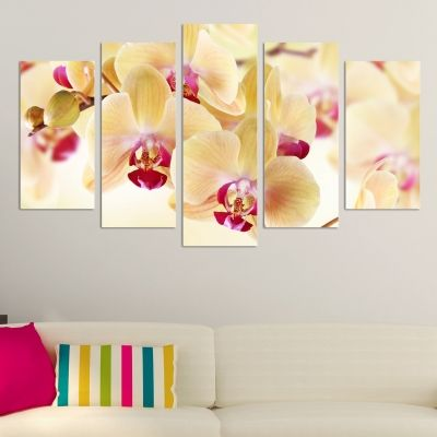 0139  Wall art decoration (set of 5 pieces) Loving orchids