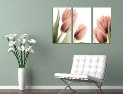 wall art decoration set with pink tulips
