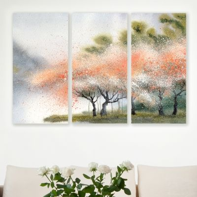 0008 Wall art decoration (set of 3 pieces)  Flowering forest