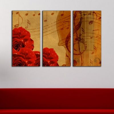 0145 - Wall art decoration (set of 3 pieces) Romantic melody