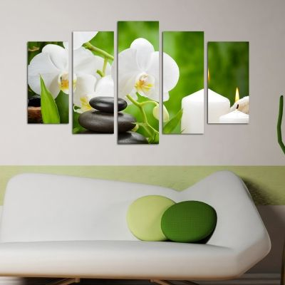 Canvas with White orchids on black background