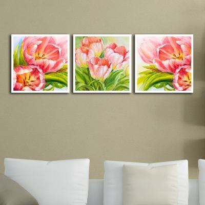 0006 Wall art decoration (set of 3 pieces) Art Pink Tulips