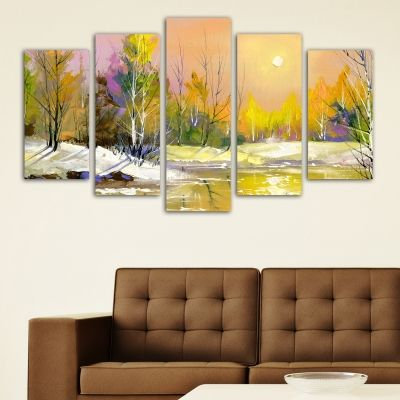 0002 Wall art decoration (set of 5 pieces) Colorful autumn