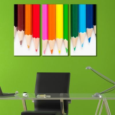 0152 - Wall art decoration (set of 3 pieces) Colour pencils